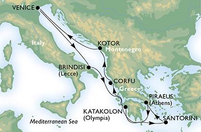 18年4月-9月 音乐号 东地中海 7晚航线