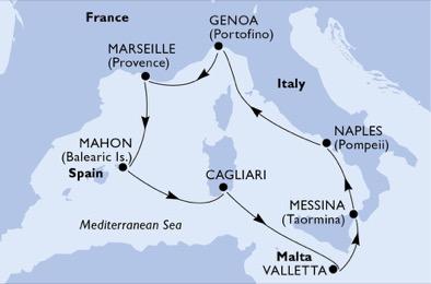 18年4月、5月、9、10月 歌剧号  西地中海7晚航线