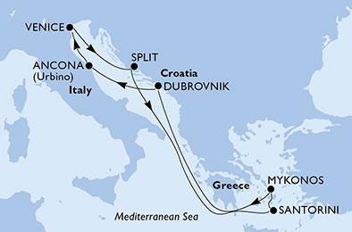18年6月-9月 序曲号 东地中海 7晚航线