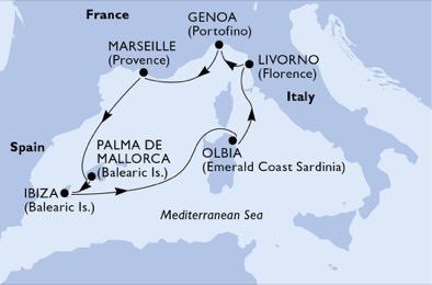18年7月-9月 歌剧号 西地中海  7晚航线