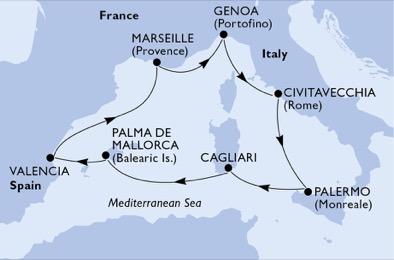 18年3月-9月 神曲号 西地中海 7晚航线