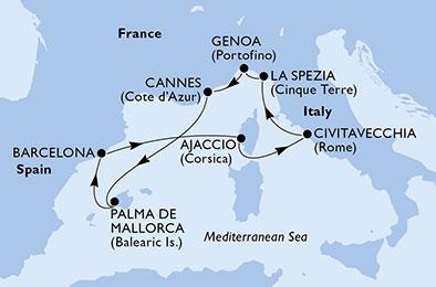 18年4月-10月 幻想曲号 西地中海 7晚航线