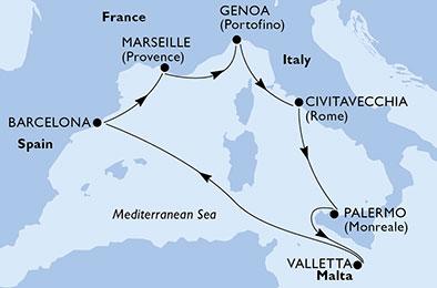 17年11月-18年4月 传奇号 西地中海 7晚航线